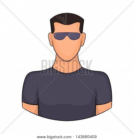 Man in glasses icon in cartoon style isolated on white background. People symbol