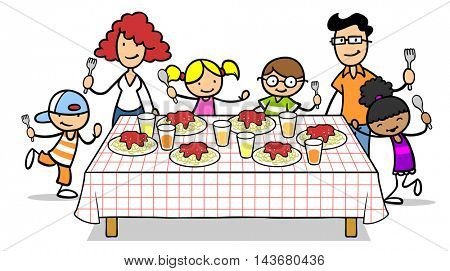 Cartoon family and children around lunch table with spaghetti noodles