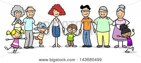 Happy cartoon patchwork family with many kids and grandparents