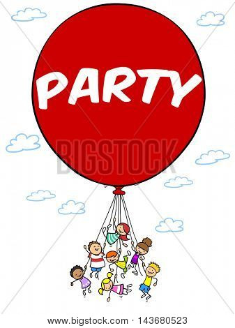 Group of cartoon children flying with a red birthday party balloon