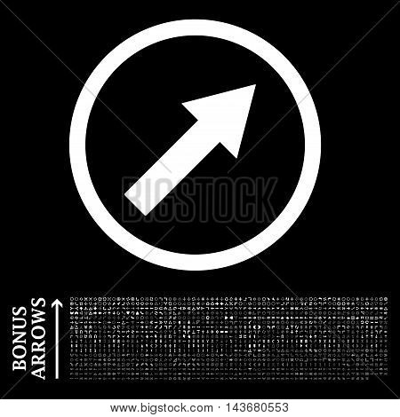 Up-Right Rounded Arrow icon with 1200 bonus arrow and direction pictograms. Vector illustration style is flat iconic symbols, white color, black background.