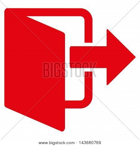 Exit Door icon. Vector style is flat iconic symbol with rounded angles, red color, white background.