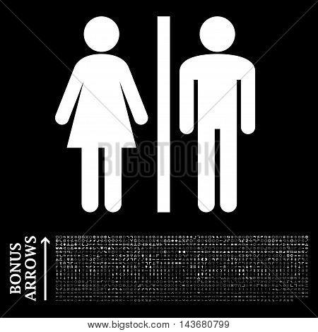 WC Persons icon with 1200 bonus arrow and direction pictograms. Vector illustration style is flat iconic symbols, white color, black background.