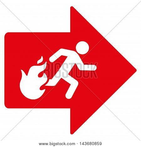 Fire Exit icon. Vector style is flat iconic symbol with rounded angles, red color, white background.