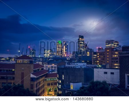 Nighttime over the City of London, England, UK