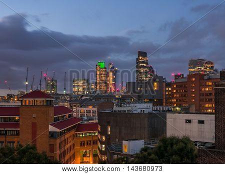 London City skyline at dusk, England, UK