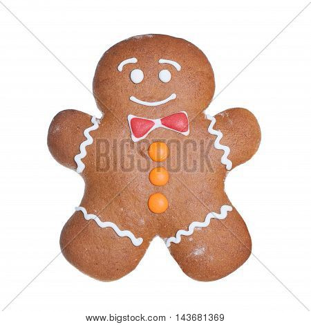 Christmas Cookie Isolated on White Background. Gingerbread Man. Xmas Cookie