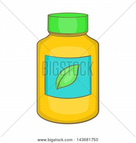 Supplement icon in cartoon style isolated on white background. Add to food symbol