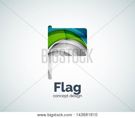 Vector flag logo template, abstract business icon