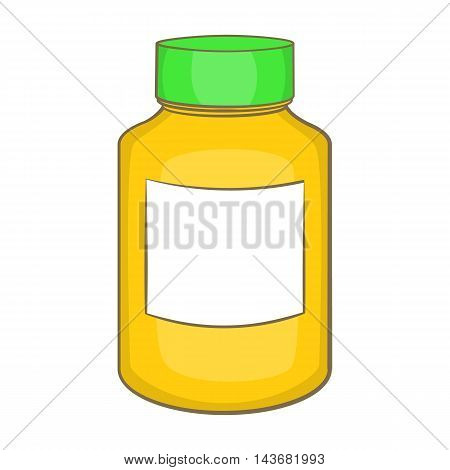 Bottle of pills icon in cartoon style isolated on white background. Medicine symbol