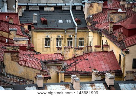 Rooftops of houses of Saint-Petersburg view from above
