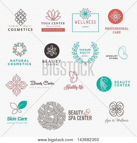 Labels and badges line set for beauty, cosmetics, spa and wellness. Flat design vector illustration concepts for graphic and web design.