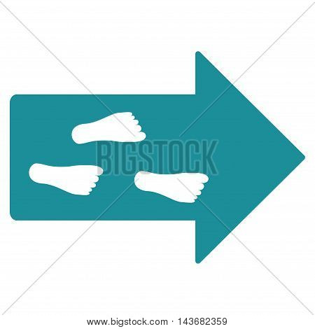 Exit Direction icon. Vector style is flat iconic symbol with rounded angles, soft blue color, white background.