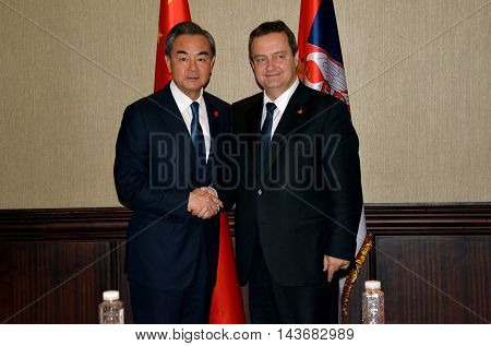 Belgrade Serbia. 17th June 2016. Meeting of the minister of foreign affairs of Republic of Serbia Ivica Dacic and minister of foreign affairs of People's Republic of China Wang Yi