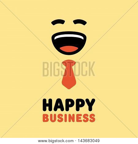 Concept logo. Happy businessman with red tie.