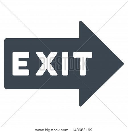 Exit Arrow icon. Vector style is flat iconic symbol with rounded angles, smooth blue color, white background.