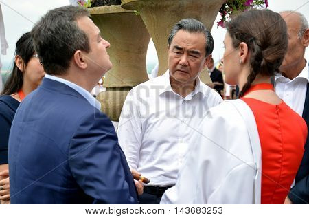 Belgrade Serbia. 19th June 2016. Minister of foreign affairs of People's Republic of China Wang Yi talks to minister of foreign affairs of Republic of Serbia Ivica Dacic