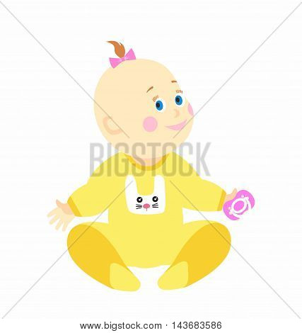 illustration cute baby girl in sliders isolated on white background
