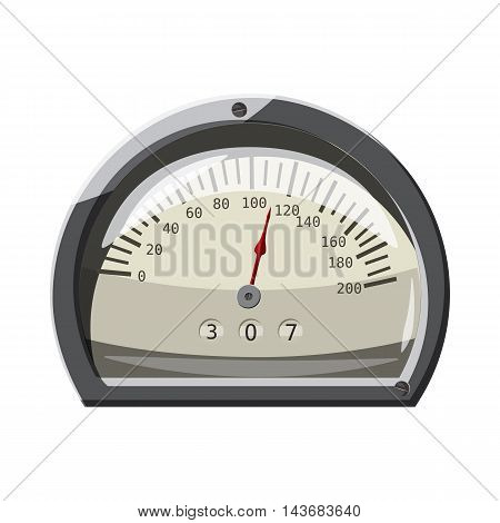 Small speedometer icon in cartoon style isolated on white background. Speed measurement symbol