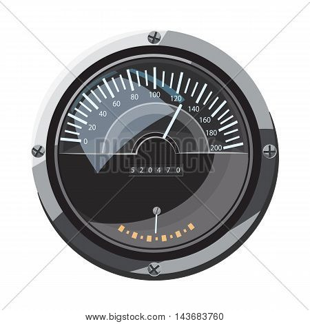 Large round speedometer icon in cartoon style isolated on white background. Speed measurement symbol