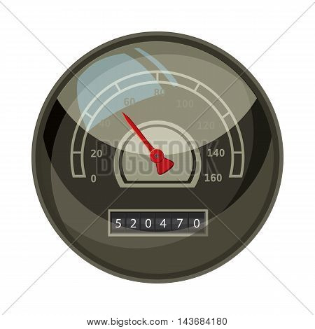 Speedometer with red arrow for car icon in cartoon style isolated on white background. Speed measurement symbol