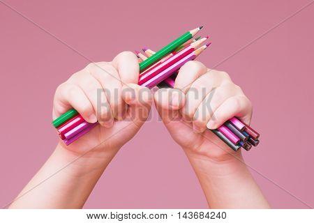 Pencils Bunch In A Hand