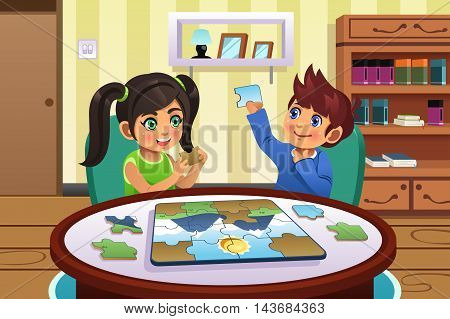 A vector illustration of happy kids solving puzzles together