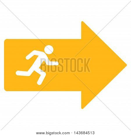 Exit Arrow icon. Vector style is flat iconic symbol with rounded angles, yellow color, white background.