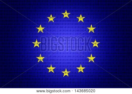 Eu flag with binary numbers - Security concept