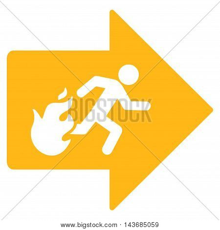Fire Exit icon. Vector style is flat iconic symbol with rounded angles, yellow color, white background.