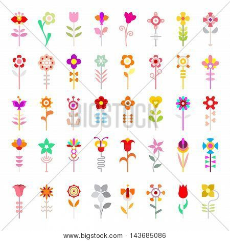 Colorful vector icons isolated on a white background. Large set of decorative design elements.