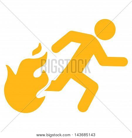 Fired Running Man icon. Vector style is flat iconic symbol with rounded angles, yellow color, white background.