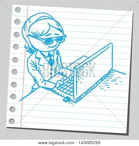 Businesswoman working on computer with protection glasses