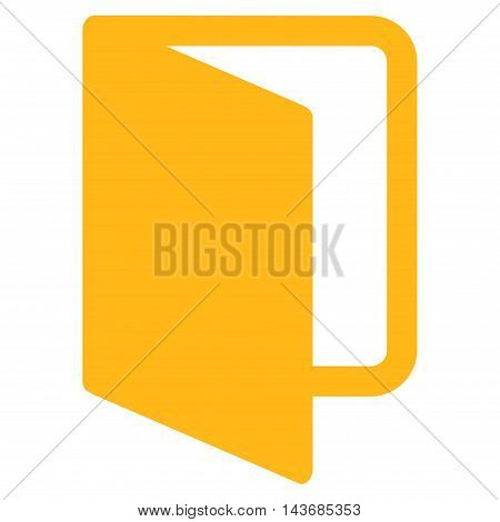 Open Door icon. Vector style is flat iconic symbol with rounded angles, yellow color, white background.