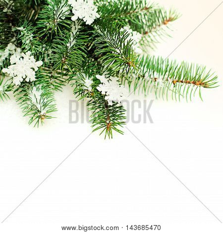 Christmas Border with Snowflake and Green Xmas Tree Twig