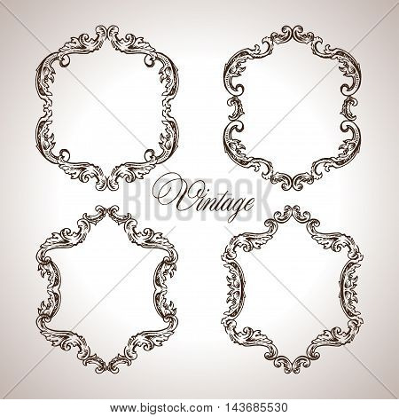 Vector calligraphic engraving frames set in antique style illustration