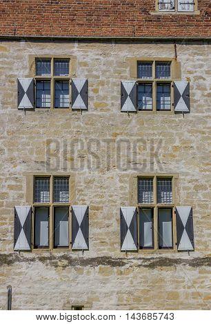 Windows And Blinds Of The Historical Kolvenburg In Billerbeck