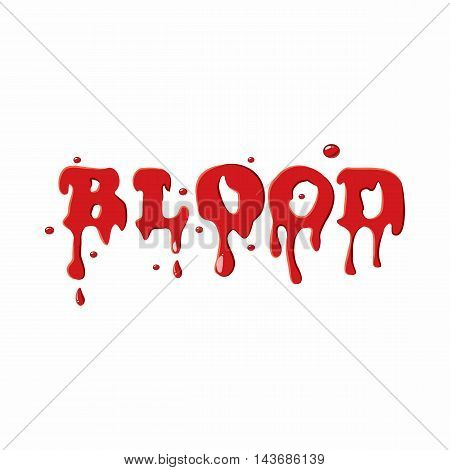 Word blood icon isolated on white background. Liquid symbol