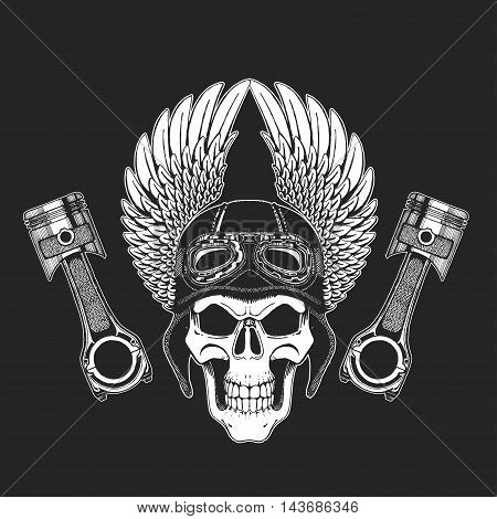 Hand drawn vector image of winged skull with pistons Picture on blackboard