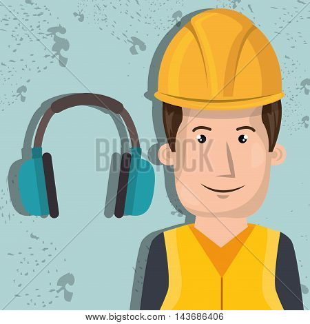 man worker protection tools icon vector illustration design