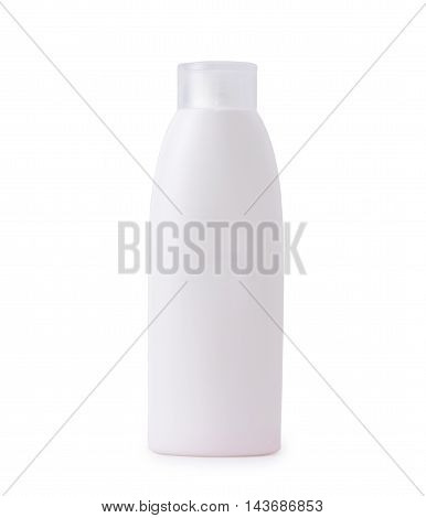 White Shampoo or body care cosmetic bottle with pump isolated on white background.