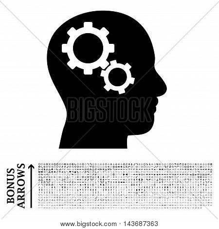 Brain Gears icon with 1200 bonus arrow and navigation pictograms. Vector illustration style is flat iconic symbols, black color, white background.