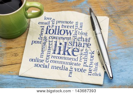 social media concept - like, share, follow word cloud on a napkin with a cup of coffee