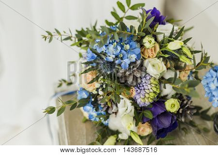 Wedding decorations close up view of bride's bouquet, blue and serenity