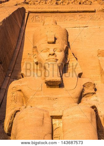 Colossus of The Great Temple of Ramesses II on sunrise, Abu Simbel, Egypt