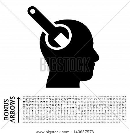 Brain Tool icon with 1200 bonus arrow and direction pictograms. Vector illustration style is flat iconic symbols, black color, white background.