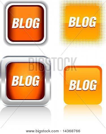 Blog  square buttons. Vector illustration.