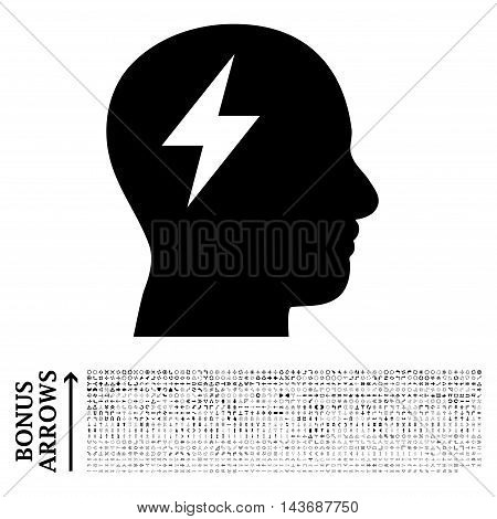 Brainstorming icon with 1200 bonus arrow and navigation pictograms. Vector illustration style is flat iconic symbols, black color, white background.