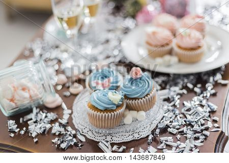 Candy Bar. Delicious sweet buffet with cupcakes, big cake and marshmallow.