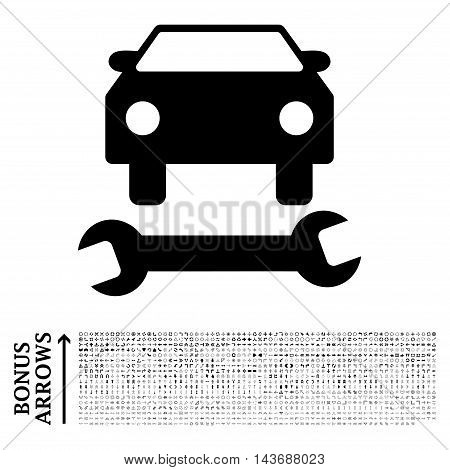 Car Repair icon with 1200 bonus arrow and direction pictograms. Vector illustration style is flat iconic symbols, black color, white background.
